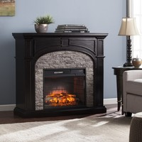 Harper Blvd Kelley Ebony and Gray Stacked Faux Stone Infrared Electric Fireplace | Overstock.com Shopping - The Best Deals on Indoor Fireplaces