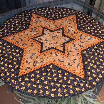 Quilted Halloween Bats Table Topper Orange Polka Dot 634