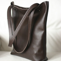 Leather Tote Bag. Brown leather Italian soft leather in brown chocolate