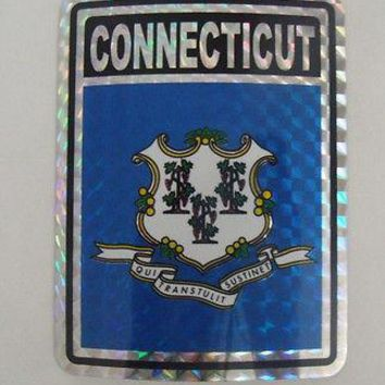 "Connecticut Flag Reflective Sticker 3""x4"" Inches Adhesive Car Bumper Decal"