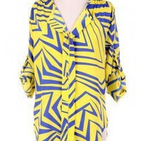 BRIGHT ZIG ZAG BOW TIE BLOUSE @ KiwiLook fashion