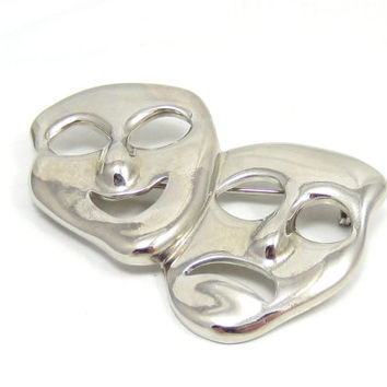 Silver Tone Mask Face Pin Drama Brooch Theater Theatrical Vintage Costume Jewelry Shawl Scarf Pin Comedy Tragedy Jewelry Happy Sad