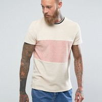 ASOS T-Shirt In Towelling With Cut And Sew Body Panel And Tipping In Beige at asos.com