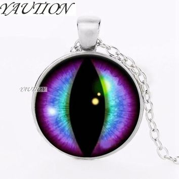 YAUTION 2018 Blue and Purple Dragons Eye Cabochon Glass Silver Necklace Men Woman Jewelry