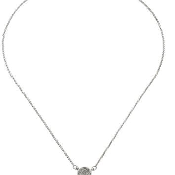 "Napier ""Pave The Way"" Silver-Tone and Crystal Adjustable Disc Pendant Necklace, 16.5"" + 3"""