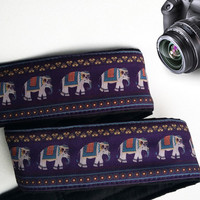 Lucky Elephants Camera Strap. Ethnic Camera Strap, Purple Camera Strap.  Camera Accessories.