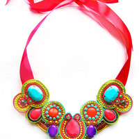 NEON BALLROOM soutache statement necklace in neon pink, green, turquoise, orange and purple