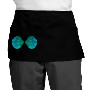 Mermaid Shell Bra Blue Dark Adult Mini Waist Apron by TooLoud