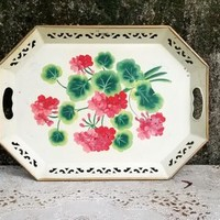 Vintage White Hand Painted Toleware Tray with Reticulated Edge