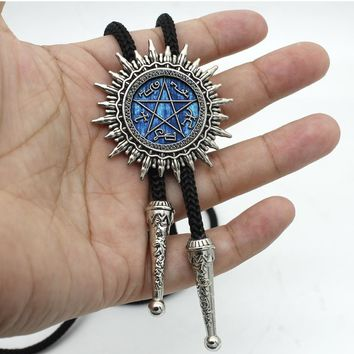 BOLO-008 New Arrival Supernatural Devils Trap Western Bolo Tie Steampunk Glass Dome Devil's Trap Neck Tie Jewelry For Women Men