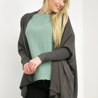 Dolman Long Sleeve Open Cardigan | DimGrey