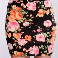 Black Floral Fitted Skirt