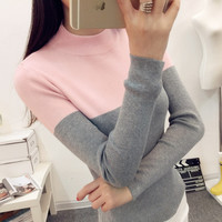 Fashion Women Elastic Turtleneck Knitted Sweaters and Pullovers Good Quality 2016 Spring Autumn Long Sleeve Knitted Sweater Tops