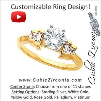 Cubic Zirconia Engagement Ring- The Shelby (Customizable 5-stone with Princess and Baguette Channel Accents)