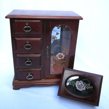 Wood Jewelry Box Wood Jewelry Chest Trinket Box Embossed Lid