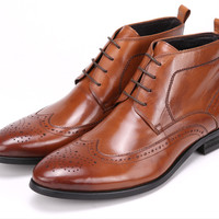 Lace Up Brogue Boots For Men