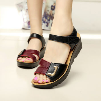 summer new fashion sandals slope with middle-aged non-slip flat comfortable old shoes large size women