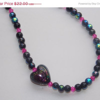 ON SALE Black and Hot Pink Dichroic Heart Necklace
