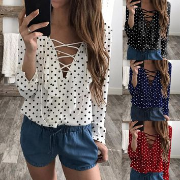 Women Ladies Long Sleeve Loose Blouse Spring Polka Dot V Neck Shirt Tops