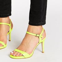 Faith Liberty Lime Patent Heeled Sandals