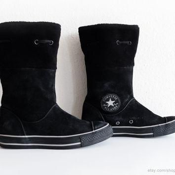 Converse winter boots in black suede leather with soft fleece cuffs, calf high Convers