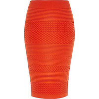 River Island Womens Red textured patterned pencil skirt