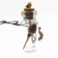 Dried rose glass vial pendant, red flower in bottle necklace with cork, Botanical jewelry, Boho, Vintage style