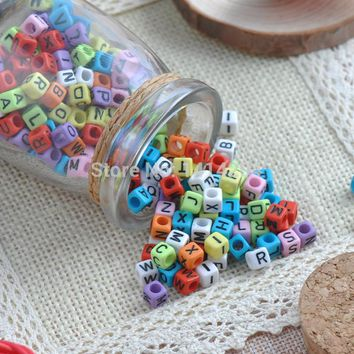 Mixed Blend Color  Acrylic Alphabet/Letter square Beads Pony Beads For Jewelry Making 6X6mm 400Pcs  YKL0115