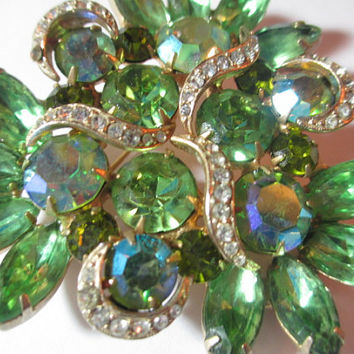 Fabulous Large Green Blue Rhinestone Three Flowers Pin Brooch AB  Finish Rounds Navettes Winding Vine Vintage 1960s Jewelry