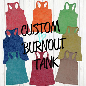 Customized Personalized Burnout Tank Top Women Ladies Gym Workout Exercise Fitness Fit