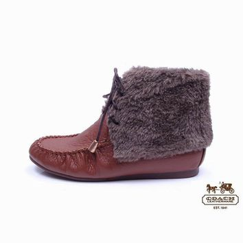 Coach Women Fashion Leather Fur Snow Boots Flats Shoes2