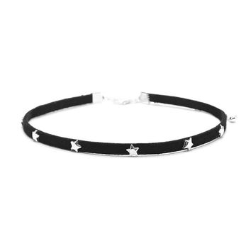 Faux Suede Star Studded Choker