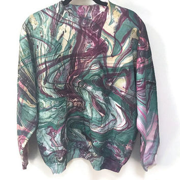 Paint Swirls Sweatshirt Hand Dyed Vintage Sweatshirt Purple & Green Marbled Top Funky Fall Cozy Sweatshirt Hanes cotton  Trippy Sweatshirt L