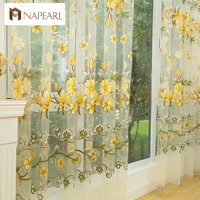 Fashion design modern transparent tulle curtains window treatments living room children bedroom colorful yellow sheer curtain