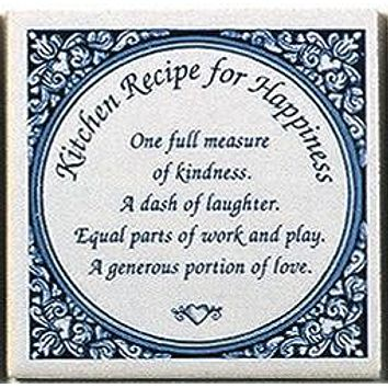 Inspirational Wall Plaque: Kitchen Recipe Tile