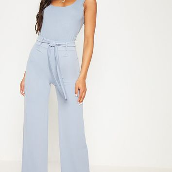 Dusty Blue Tie Waist Wide Leg Trouser