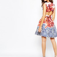 True Violet Floral Printed Dress With Open Back Tie Detail at asos.com
