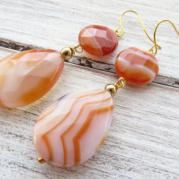 Agate drop earrings, orange stone earrings, summer earrings, dangle earrings, contemporary jewelry, wedding jewelry, italian jewelry, bijoux