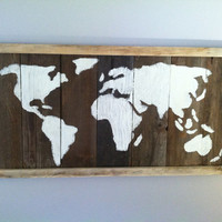 Barn Wood World Map Wall Art