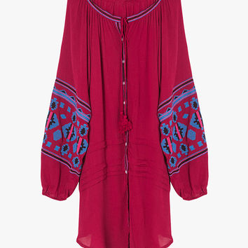 Button Front Embroidered Mini Dress