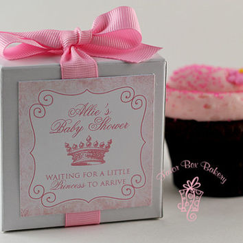 Awaiting A Little Princess or Prince ...One Dozen Personalized Cupcake Mix Baby Shower Favors