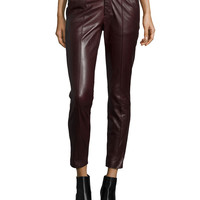 Mid-Rise Leather Pintuck Trousers, Shiraz, Size:
