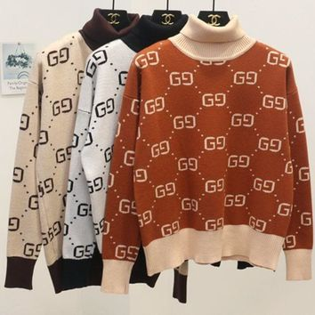 DCCKR2 GUCCI fall and winter models fashion jersey bottoming shirt loose short sweater
