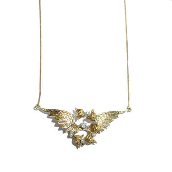 Antique Wing And Wreath Pendant With Diamond - 18 Carat Chain