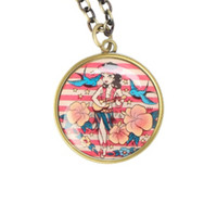 Loungefly Pin-Up Hula Girl Necklace