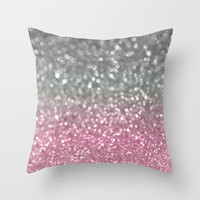 Gray and Light Pink Throw Pillow by Lisa Argyropoulos