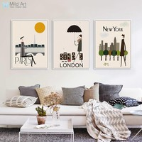 Triptych Modern London New York Paris City Travel A4 Art Print Poster Hipster Wall Pictures Canvas Painting Customd Home Decor
