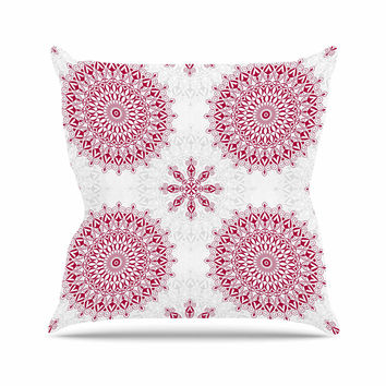 "Julia Grifol ""Geometric Mandalas"" Red White Outdoor Throw Pillow"