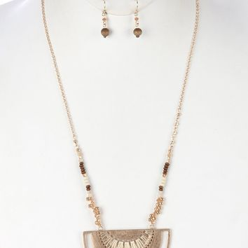 Ivory Matte Finish Metal Cutout Half Moon Pendant Necklace And Earring Set