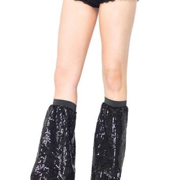 Sequin Leg Warmers (One Size,Silver)